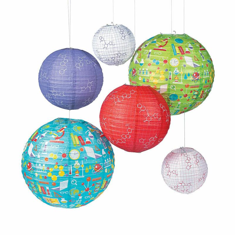Science Party Paper Lanterns - Party Decor - 6 Pieces
