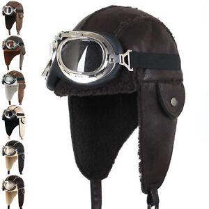 ililily Aviator Hat Brown Snowboard Fur Ear Flaps Trooper Trapper Pilot Goggle
