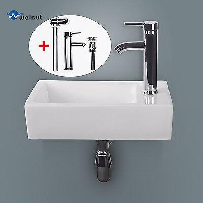 Bathroom Ceramic Vessel Sink Wall Mount Vanity Rectangle Basin w/ Chrome Faucet