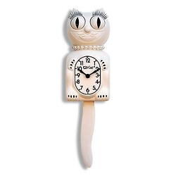 Classic Vintage Retro Kit-Cat Klock 15 1/2 White Lady Clock Rolling Eyes Tail