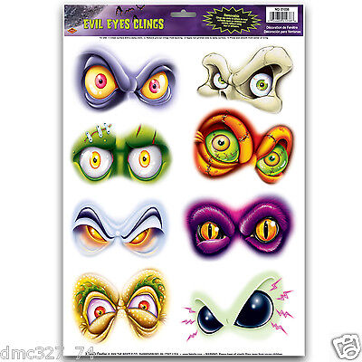 1 Sheet HALLOWEEN Decoration Prop WINDOW Mirror CLINGS Cling EVIL EYES - Halloween Window Decorations Eyes