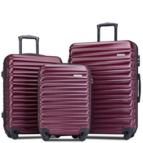 3 Piece Luggage Sets Hardside Spinner Suitcase Light weight