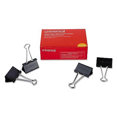 """Universal Large Binder Clips, Steel Wire, 2"""" Wide, 1"""" Capacity, Black/Silver, 36"""