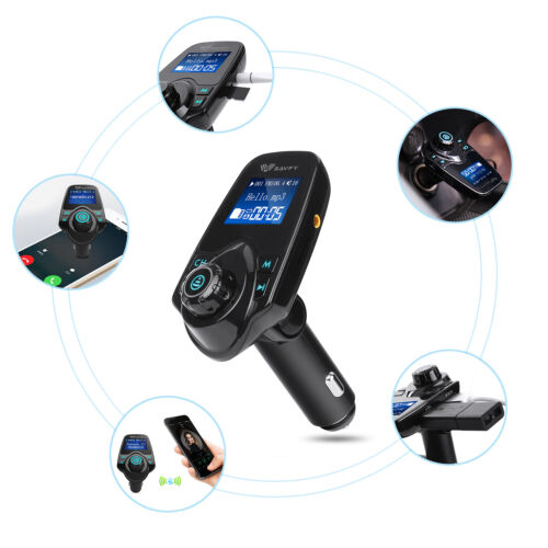 Agptek Fm Transmitter,wireless In-car Bluetooth Radio Adapter Car Kit With 1.44 Inch Display & Dual Usb Car Charger 14