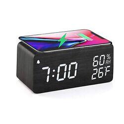 Digital Alarm Clock Wooden Wireless Charging 3 LED Display Sound Control