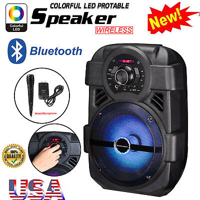 BT Party Speaker System Bluetooth Big LED Portable Stereo 8