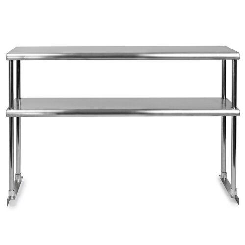 Stainless Steel Adjustable Double Overshelf for Work Table 14 x 24 - NSF