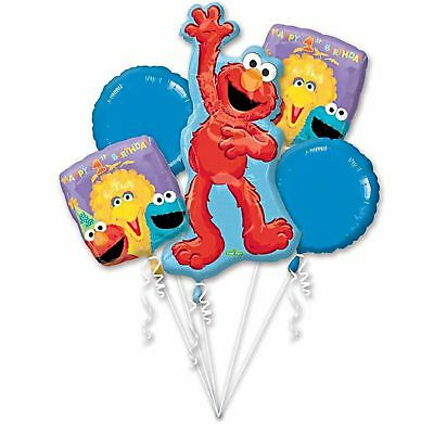 Sesame Street Elmo 1st Birthday Party Supplies Foil Balloon Bouquet ~ 5pc First ()