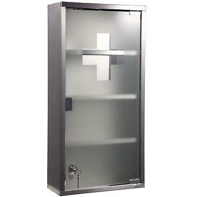 Key Lockable Metal Medicine Cabinet Frosted Glass 4 Shelves Compartments W Lock ()