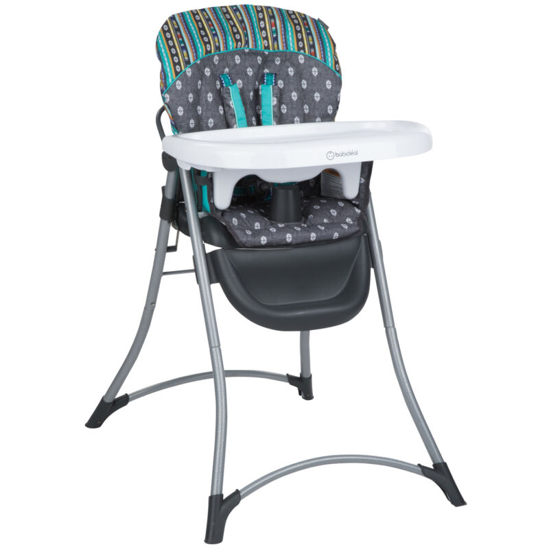 Baby High Chair Foldable Portable 3 Position X-Large Adjustable Tray Multicolor
