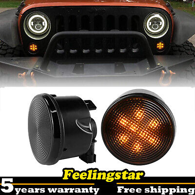 Pair LED Turn Signal Light Smoke Lens Front Grill For Jeep Wrangler JK -