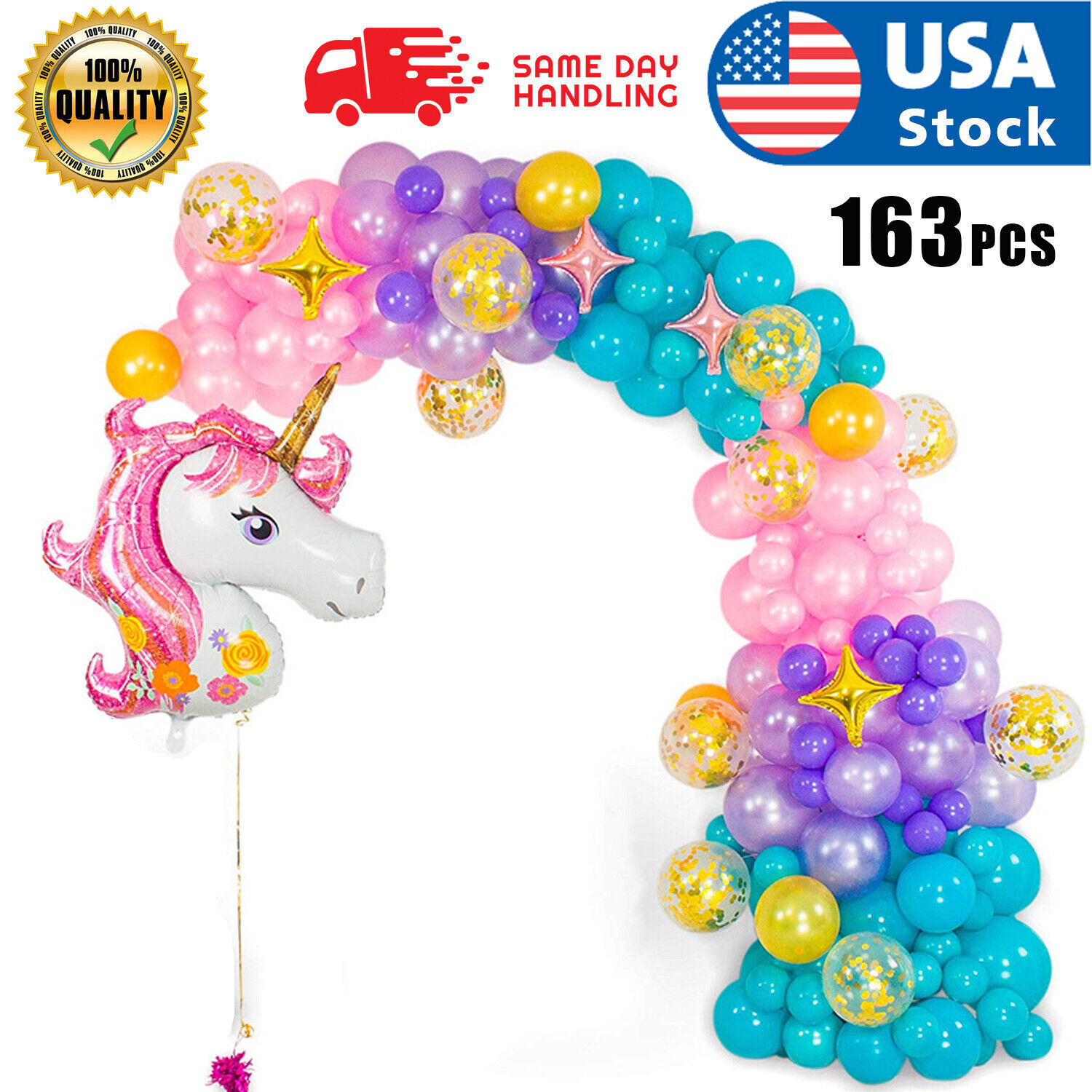 16 FT DIY Unicorn Balloon Arch and  Unicorn Party Supplies and Girls Birthdays Balloons