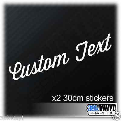 x2 Custom Text Car Stickers Personalised Lettering Name Novelty Vinyl Decal