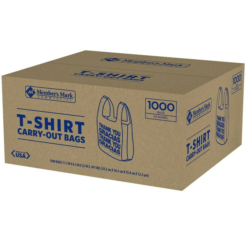 T-Shirt Thank You Plastic Grocery Store Shopping Carry Out Bag 1000ct Free Ship