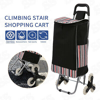 Stair Climbing Cart 3wheel Folding Shopping Laundry Climber Rolling Trolley Bag