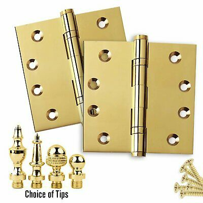 Door Hinges 4 x 4 Solid Brass Ball Bearing Polished Brass With Tips - Set of - Polished Brass Ball Tip