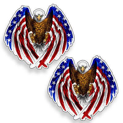 2 Mini Bald Eagle Sticker USA American Flag Hard Hat Helmet Pack Phone Cup Decal