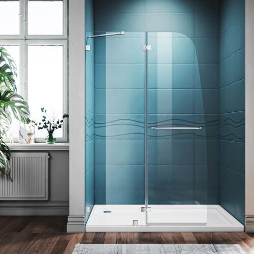 SUNNY SHOWER 45 x 72 Frameless Hinge Shower Door Polished Chrome 1/4 Clear Glass