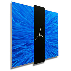 Blue Contemporary Metal Wall Clock - Abstract Modern Metal Wall Art by Jon Allen