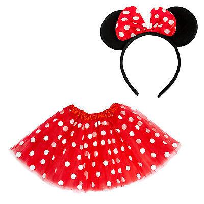 Damen Maus Mouse Kostüm Accessoire Set - Tutu + Haarreifen mit Maus Ohren (Maus Kostüm Ohren)