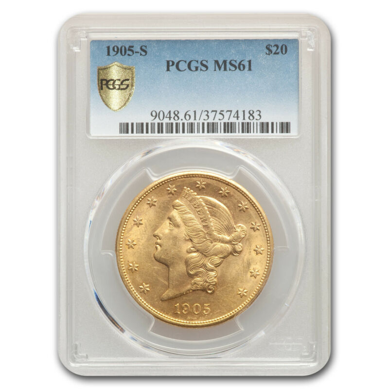 1905-S $20 Liberty Gold Double Eagle MS-61 PCGS - SKU #95252