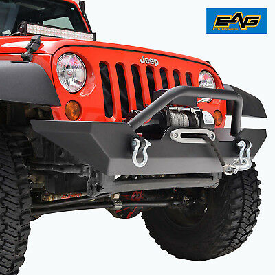 EAG Offroad Black Front Bumper With Winch Plate & D-Ring 07-18 Jeep Wrangler JK