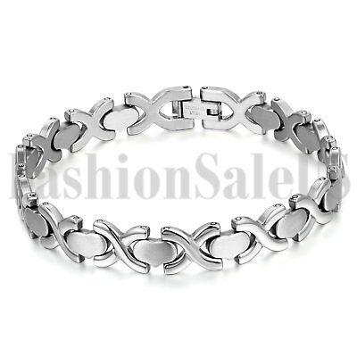 Men's Women's Stainless Steel Silver Tone Cuff Bangle Love Heart Charm Bracelet ()