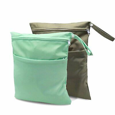 Waterproof Reusable Cloth Diaper Wet Dry Bags with Two Zippered Pockets...