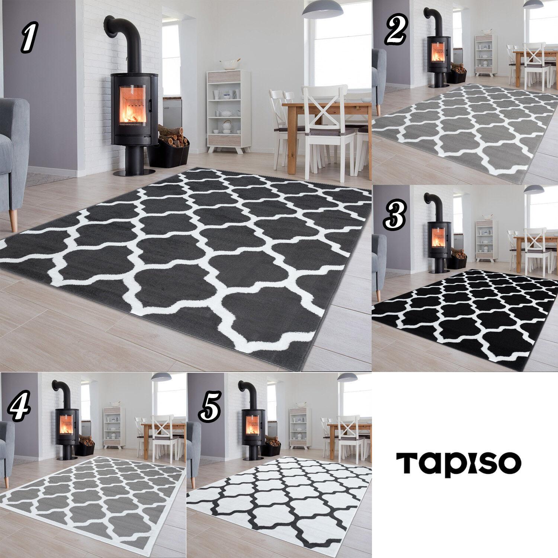 Teppich Modern Wohnzimmer mit Gestreift Teppiche Tapis Kurzflor in Schwarz