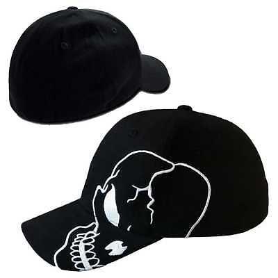 Skull Skateboard Biker Skeleton Motorcycle Punisher Baseball Cap Flex Hat - L/XL (Skeleton Hat)