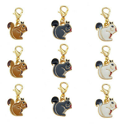 Multi-Colors Enamel Squirrel Dangle Charms Pendant with Lobster Clasp (Multi Dangle Charms)
