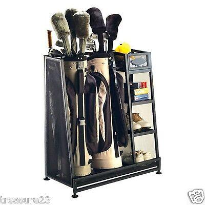 Suncast Golf Bag Gear Shoe Rack Storage Organizer