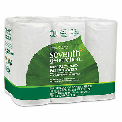 Seventh Generation 100% Recycled Paper Towel Rolls 2-Ply -6 Rolls each