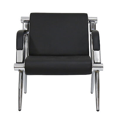1-seat Guest Chair Waiting Room Airport Reception Barber Bench Black Pu Leather