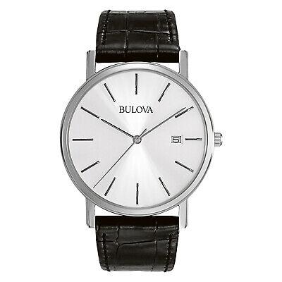 Bulova Classic Men's Quartz Date Indicator Black Leather 37mm Watch 96B104