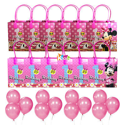 1st Birthday Party Loot Bags - 12pc Minnie Mouse 1st Birthday Party Loot Bags Goody Fun Gift Bag w/Balloons