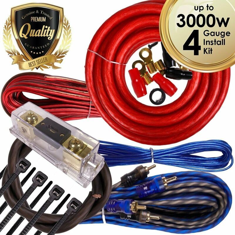 Complete 3000W 4 Gauge Car Amplifier Installation Wiring Kit Amp PK1 4 Ga Red