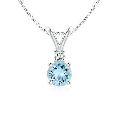 "Angara Round Aquamarine Diamond V-Bale Pendant with 18"" Chai"