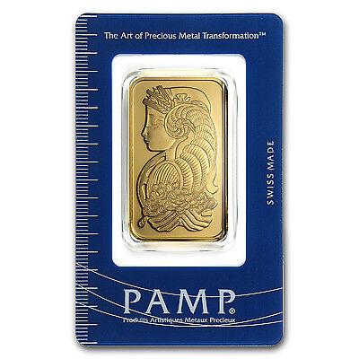 1 oz Pamp Suisse Gold Bar - Lady Fortuna Design - In Assay