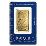 1 oz Pamp Suisse Gold Bar - Lady Fortuna Design - In Assay