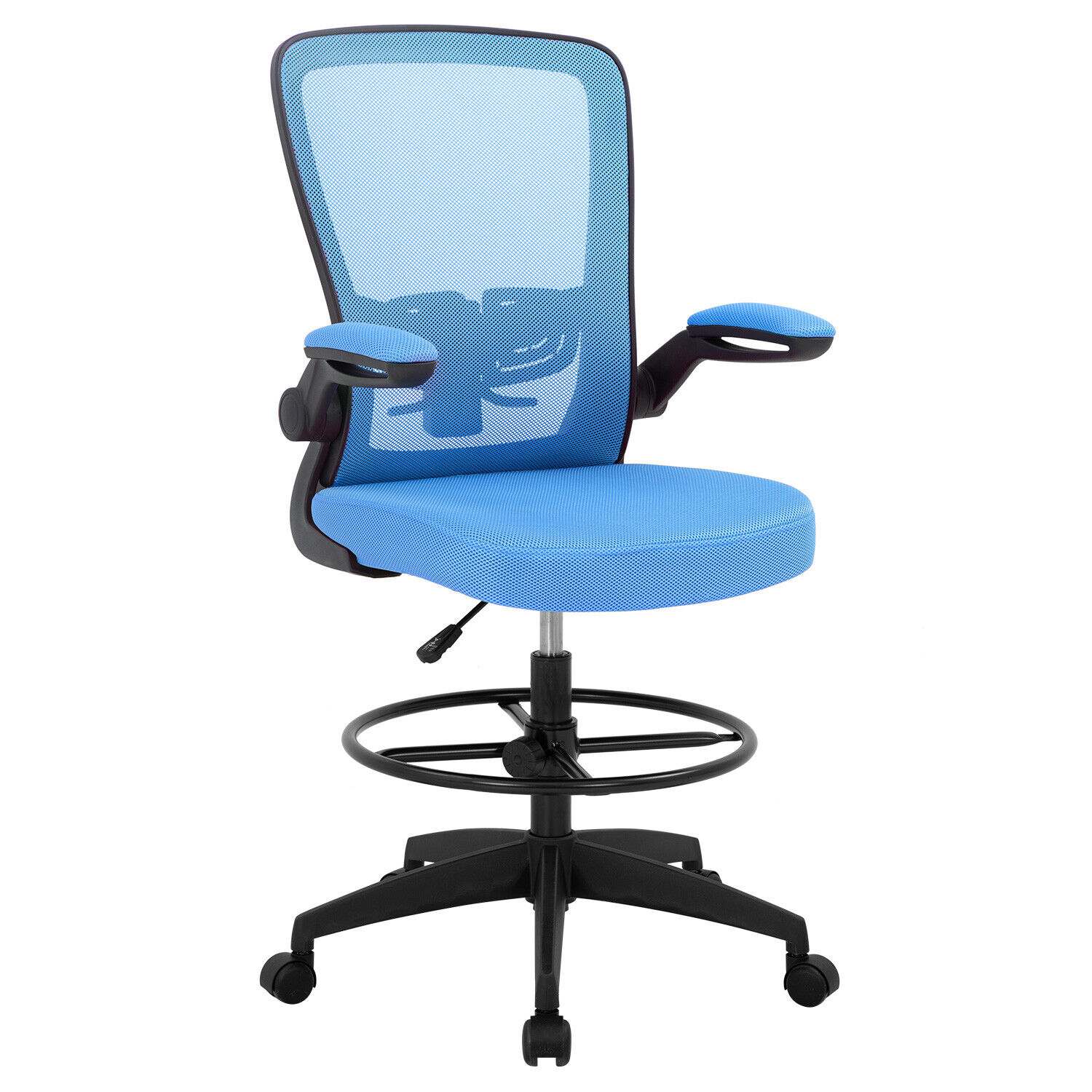 Drafting Chair Tall Office Chair Adjustable Height with Lumbar Support Flip Up Business & Industrial