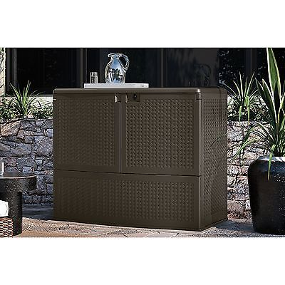 Bar Height Patio Furniture Outdoor Storage Cabinet Store Cushions Deck Box