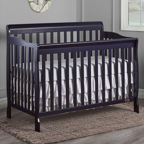 5-in-1 Convertible Crib Baby Dark Blue Wood Toddler Bed Full Nursery Furniture
