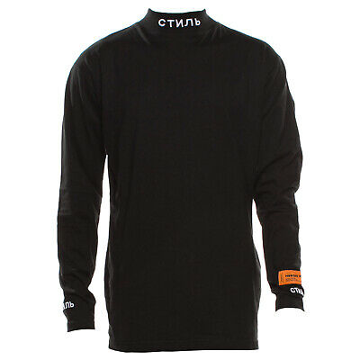 Heron Preston Black Long Sleeve Mock Neck T Shirt Size XS