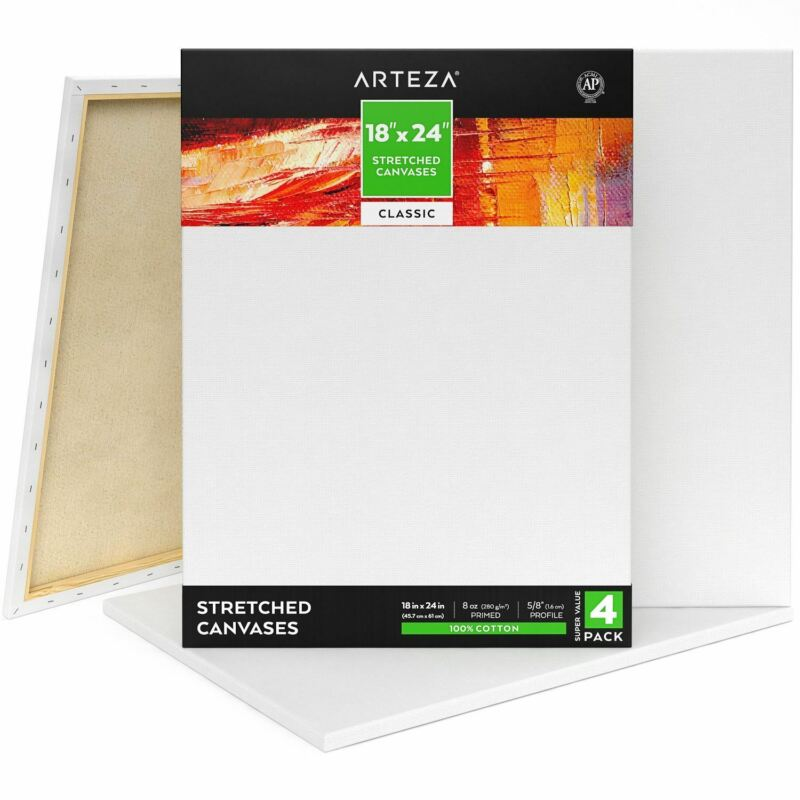 "ARTEZA Stretched Canvas, Classic, 18"" x 24"", Pack of 4"
