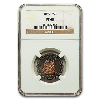 Click now to see the BUY IT NOW Price! 1865 LIBERTY SEATED QUARTER PF 68 NGC   SKU 132534