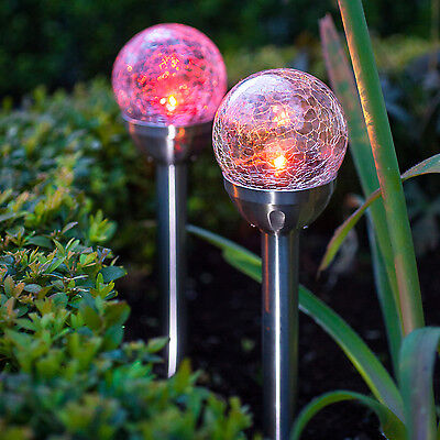 2 Colour Changing LED Solar Stake Lights Crackled Glass Ball Globe Lights 27cm