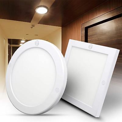 18W Surface Mounted LED Ceiling Panel Light PIR Sensor Downlight Cool White 240V