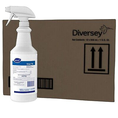 12 Pack Diversey Virex Tb Disinfectant Ready-to-use Cleaner 1 Qt. 04743