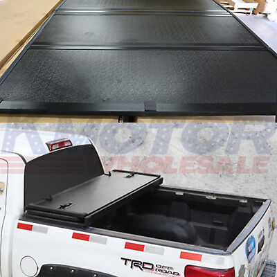 Hard Truck Bed Tonneau Covers - Lock Hard Solid Tri-Fold Tonneau Cover 5.5 FT Truck Bed For Ford F-150 2004-2018
